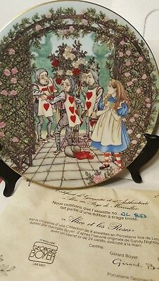 Limoges France Alice In Wonderland Alice & The Roses Collector Plate MIB COA