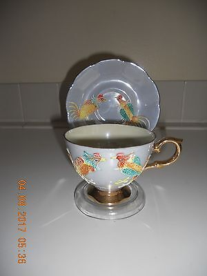 VTG Shafford Japan Teacup and Saucer Lustre Hand painted Bird Phoenix Rooster