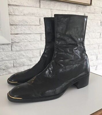 Luca Shoes Roma Vintage Mod Black Leather Ankle Boots Beatles Gold Toe 43/10.5