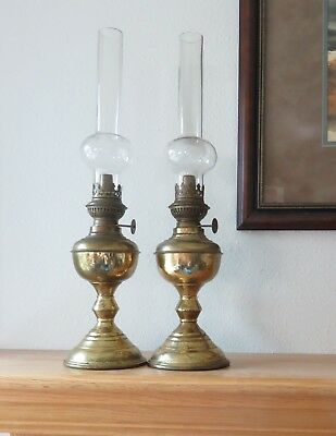Pair of Brass Squire Kerosene  Lamps with Chimneys