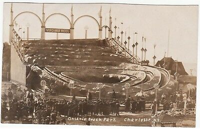 Real Photo- Ontario Beach Park Charlotte NY Roller Coaster 1910 RPPC Eye Witness