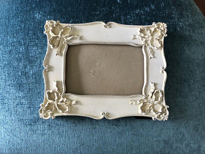 Vintage Victorian Inspired Antiqued Picture Photo Frame White Ivory Cream Ornate