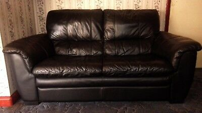 used black 3 seater leather sofa with black leather stool