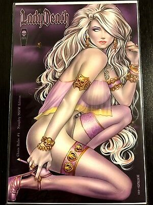 LADY DEATH CHAOS RULES #1 NAUGHTY NFSW MOORE LTD SIGNED PULIDO wCOA! NM+