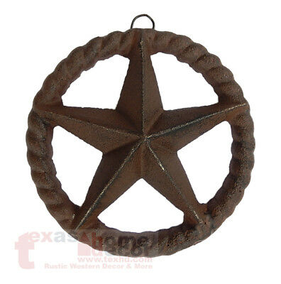 Small Cast Iron Rustic Texas Star Rope Ring Western Arts Crafts Antique 4 3/4 in