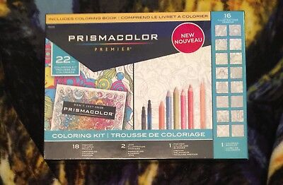Prismacolor Premier Coloring Book Kit 22pc With 2 Markers And Colored Pencils