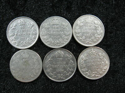 6 old world foreign SILVER coin lot CANADA 10 cents 1902-1929 FREE S&H