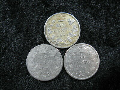 3 old world SILVER coin lot CANADA 10 cents KM3 1883 1898 1900 Queen Victoria