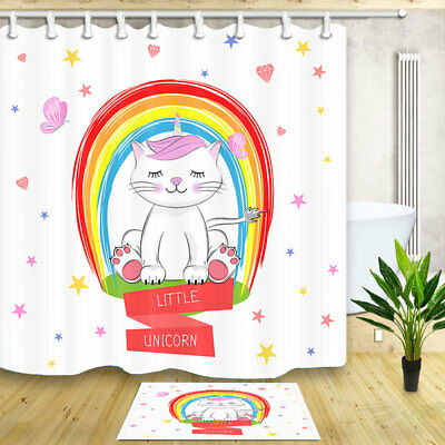 Cute cat unicorn Follow your dreams Shower Curtain Bedroom Fabric /& 12Hooks new
