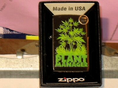 New USA Windproof Flame ZIPPO Oil Lighter 07231 Plant Manager Brush Chrome Case