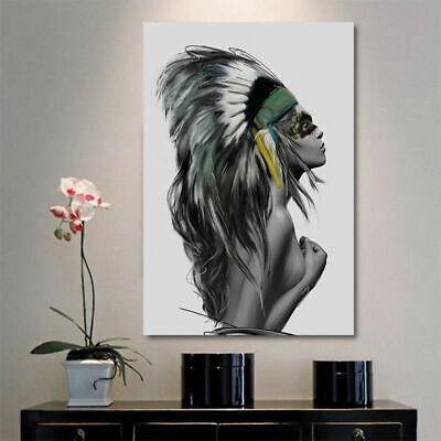 1-3pcs Sexy Indian Girl Feather Print Waterproof Oil Painting Wall Home Art Deco