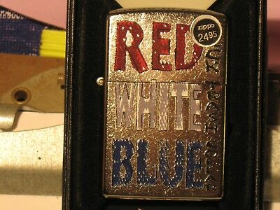 New USA Windproof ZIPPO Oil Lighter 07229 Red Neck White Trash Blue Collar St Ch