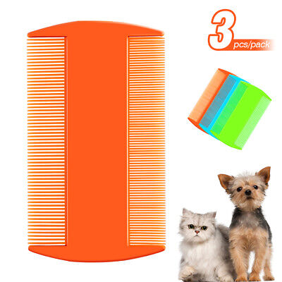 3x Double Sided Flea Comb Plastic Grooming Tool for Dogs Pet Cat Fine Tooth Hair