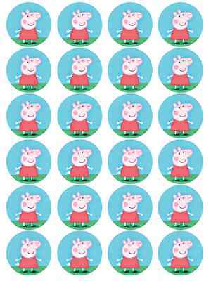 24 x Large Peppa Pig Edible Cupcake Toppers Birthday Party Cake Decoration