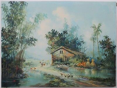 """ASIAN VINTAGE LANDSCAPE OIL PAINTING COUNTRY FARM SCENE 18"""" x 24"""" on Canvas"""