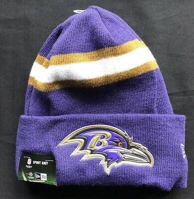 241073530e6 BALTIMORE RAVENS CUFFED Beanie Knit Winter Cap Hat NFL Authentic ...