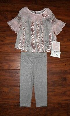 Bonnie Baby 2 piece light pink and gray legging outfit infant baby sz 12 months