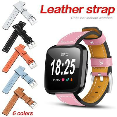 Replacement Genuine Leather Wrist Strap Watchband For Fitbit Versa Smart Watch