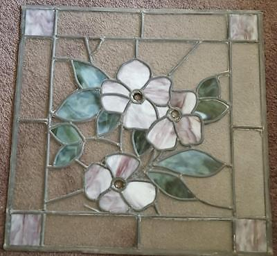 Beautiful Hand Crafted Stained Leaded Glass Window - BEAUTIFUL FLORAL DESIGN VGC