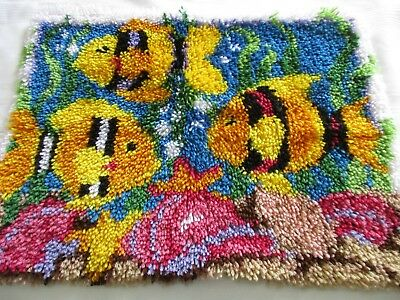 """Caron~Golden Fish Latch Hook Rug~Completed~20"""" by 27""""~Wall Hanging or Floor Rug"""