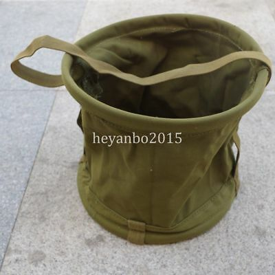 Ww2 Military Canvas Carriable Water Bucket  Material Portable Outdoor Fishing