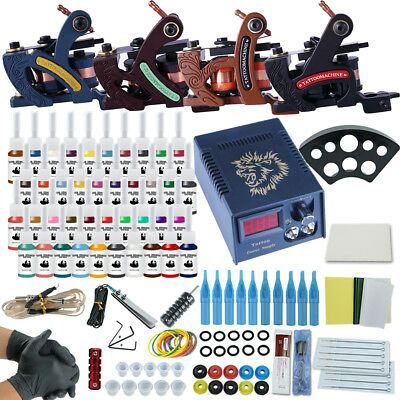 Complete Tattoo Kit Machine Professional Lining Shading Body 4 Gun 40 Ink Color