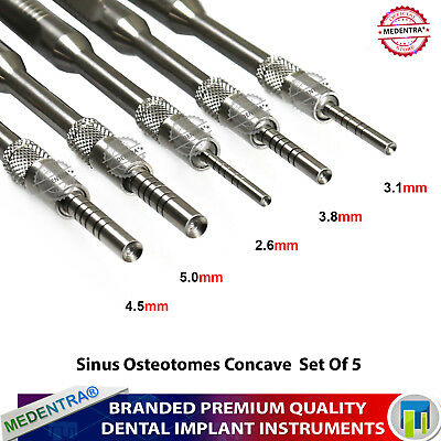 Dental Implant Sinus Lift Surgery Cutting Preparing Bone Concave Osteotomes 5Pcs