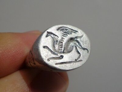 Middle Ages Byzantine Silver Signet Ring  11th-13th century AD.