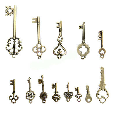 13pc Antique Vintage Old Look Skeleton Keys Lot Bronze Tone Pendants Jewelry Kit