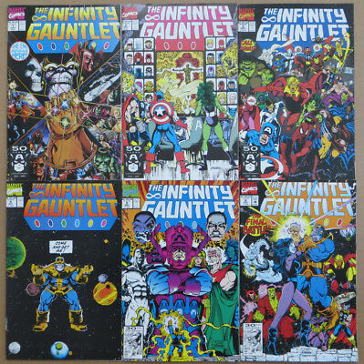 Infinity Gauntlet #1-6 2 3 4 5 Nm Complete Set Thanos 1991 Avengers High Grade!