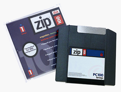 IOMEGA set of two ZIP DISKs 100MB each in separate JEWEL CASEs  NEW - Never Used