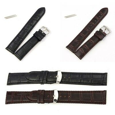 New Genuine Leather Watch Strap Band Buckle Gifts Women Mens16 18 22 24mm