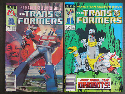 Transformers #1 1984 Marvel & #8 1st DinoBots VF/NM NEWSSTAND HIGH GRADE SHARP