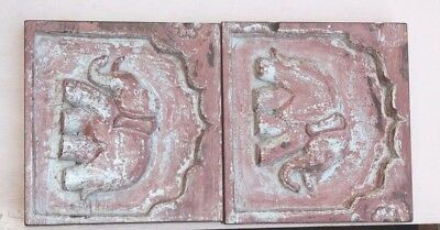 1900s Old Vintage Real Antique Rare Wooden Elephant Wall Panel Pair PE34