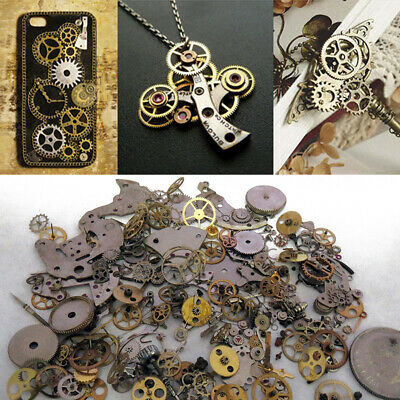 10g Metal Bronze Silver Gold Steampunk Cogs and Gears Clock Hand Charm Mix