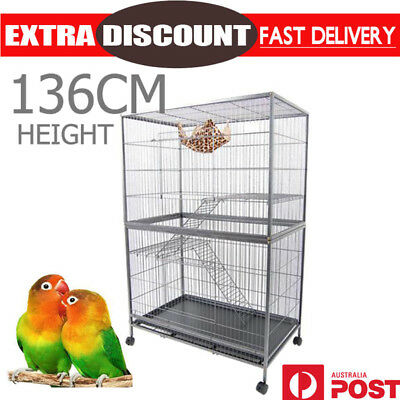 Pets Bird Cage Parrot Aviary Stand-alone Budgie Perch Castor Wheels Large 136cm