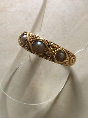 victorian 18ct Yellow Gold. Pearl Ring Size N. U.S. Size 7. Dated 1887.