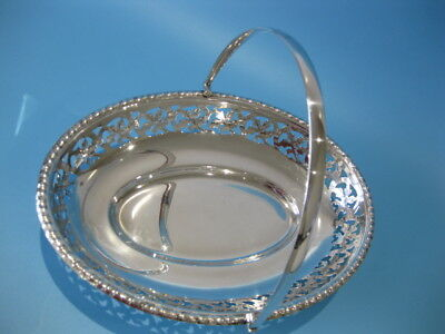 Beautiful Antique Silver Plated Oval Hand-Pierced Bread Bowl / Table Bowl