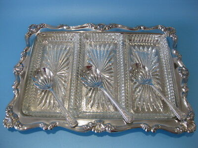 Beautiful Large Vintage Silver Plate Tripple Dish Caviar Server / Condiment Dish