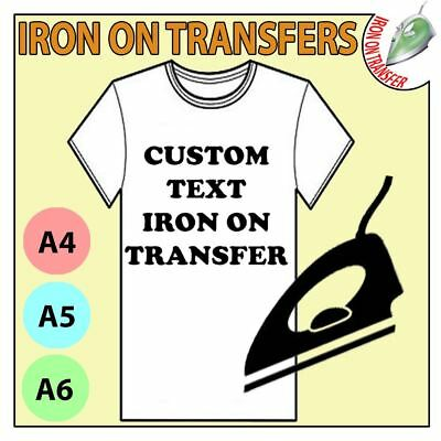 Custom Iron On T Shirt Clothing Transfer Text Name Any Colour Font Personalised