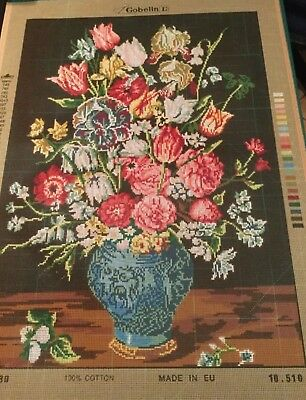 Blue Vase Of Flowers Tapestry To Stitch