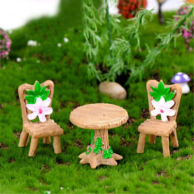 3Pcs Floral Table Chairs Miniature Landscape Fairy Garden Dollhouse DecorationEB