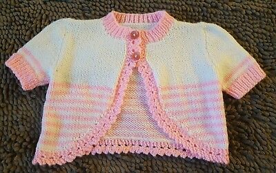 Handmade*Pink&White Vintage Sweater*Toddler Baby Girl 12-18mos*EVC