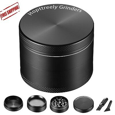 New Spice Herbal Zinc Alloy Smoke 4 Piece 2 Inch Black Tobacco Herb Grinder US