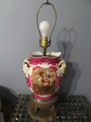 RARE Vintage Antique Victorian Baroque Rococo Porcelain Metal Brass Table Lamp