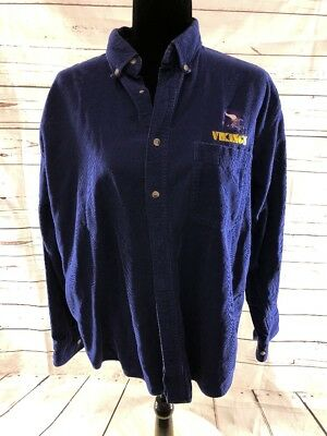 4b13211c76e MINNESOTA VIKINGS MEDIUM TAILGATE BUTTON DOWN MENS PURPLE CORDUROY LONG  SLEEVE -  13.99