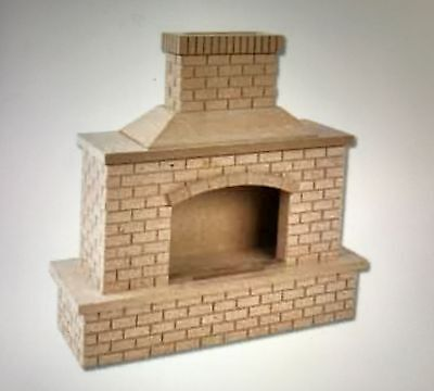Dollhouse Miniatures OUTDOOR BRICK FIREPLACE #2409 Unfinished 1:12 Scale NEW