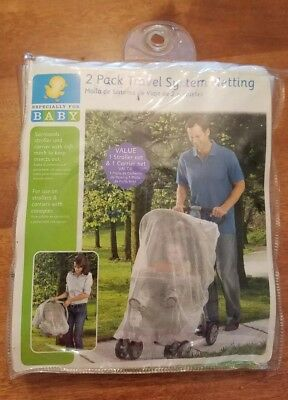 2 Pack Travel System Insect Netting for a Stroller and Carrier - NEW