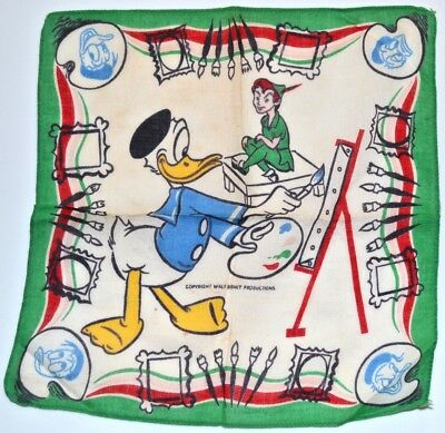 Vintage Child's Hankie Disney Donald Duck Peter Pan 1950s 1960s Handkerchief