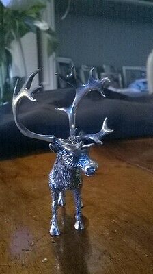 """Silver animals figurine statuette, marked. Deer signed """"Cerreti"""", hand-chiseled."""